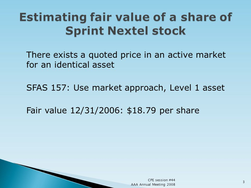Estimating fair value of a share of Sprint Nextel stock