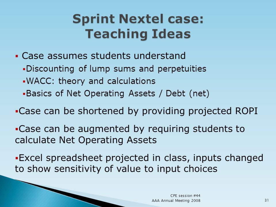 Sprint Nextel case: Teaching Ideas