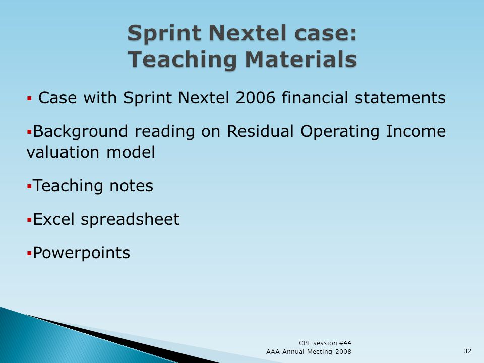 Sprint Nextel case: Teaching Materials
