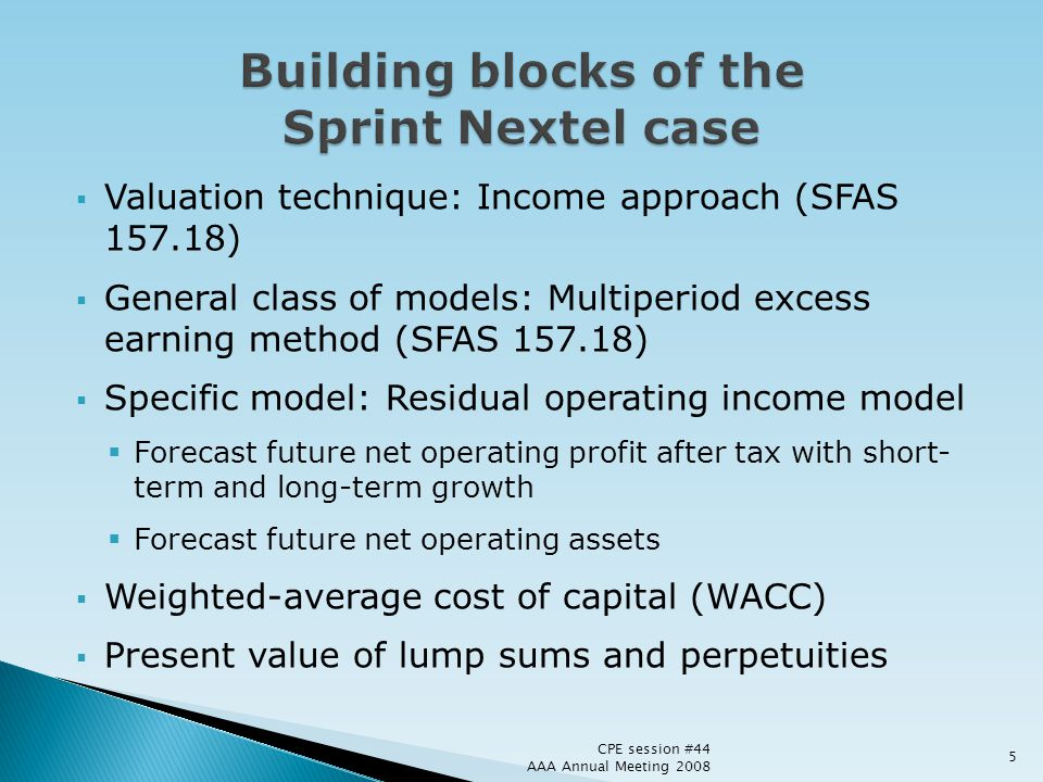 Building blocks of the Sprint Nextel case