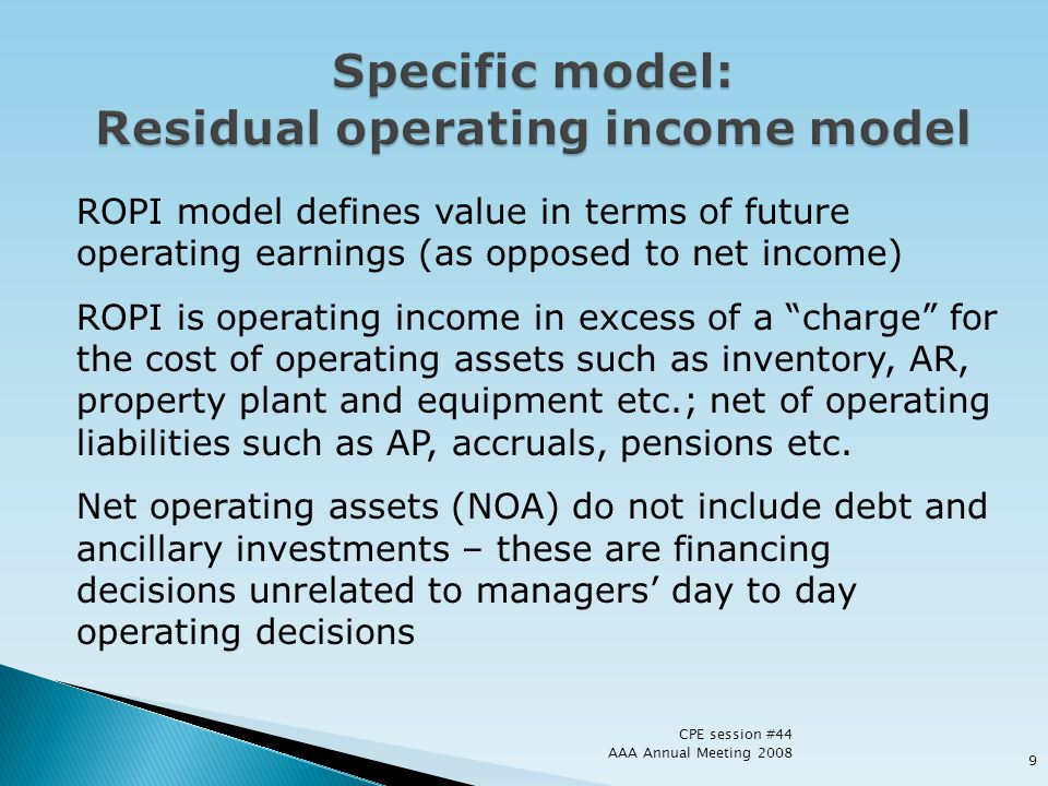 Specific model: Residual operating income model