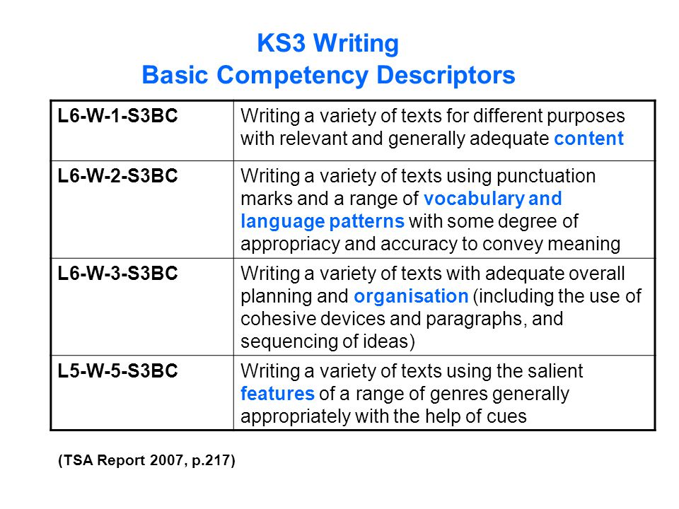 KS3 Writing Basic Competency Descriptors