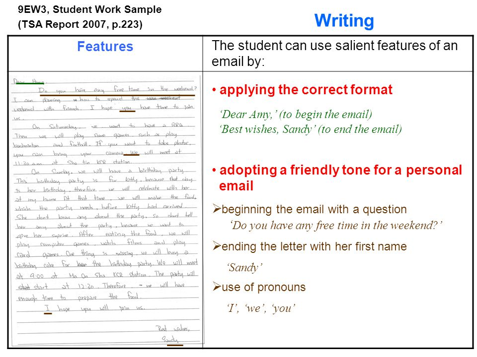 Writing Features The student can use salient features of an email by: