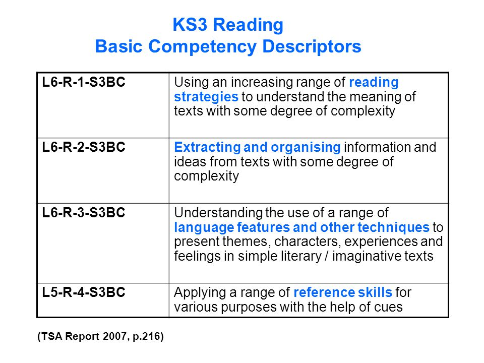 KS3 Reading Basic Competency Descriptors