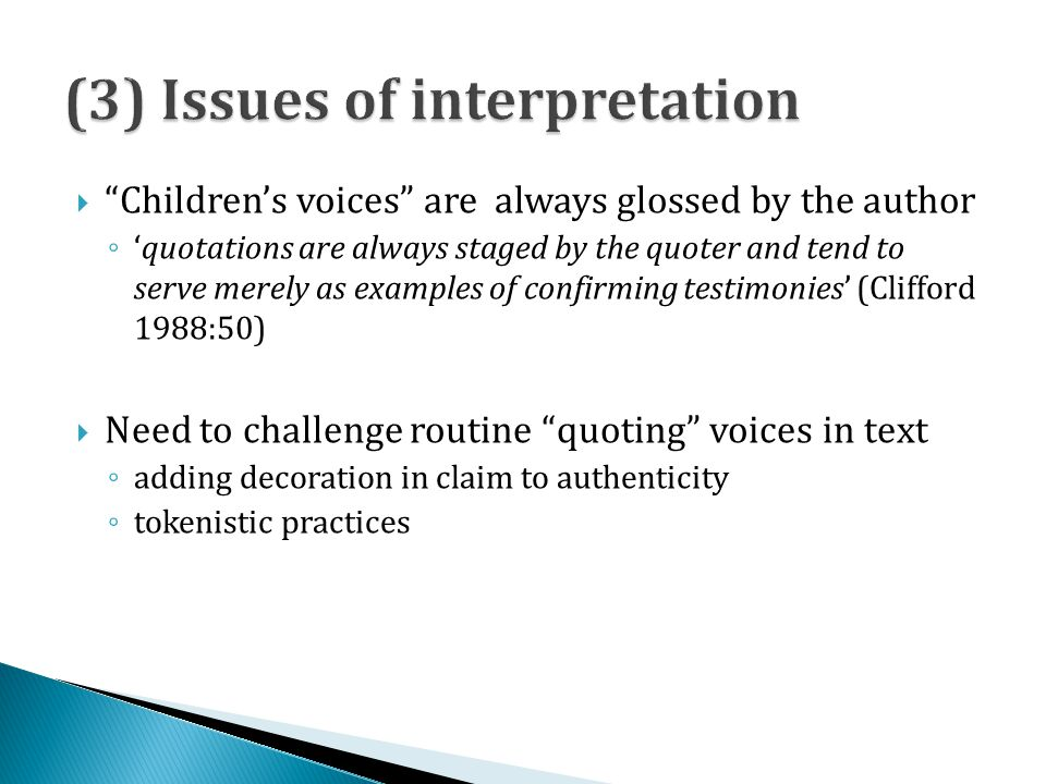 (3) Issues of interpretation