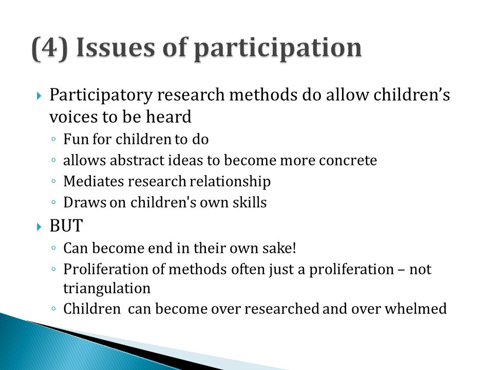 (4) Issues of participation