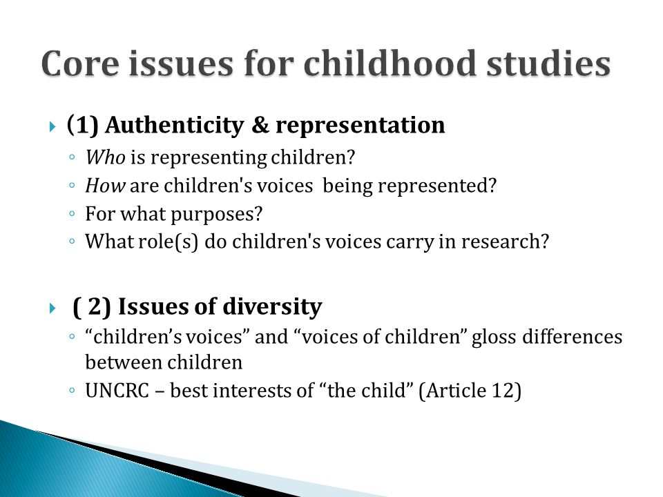Core issues for childhood studies