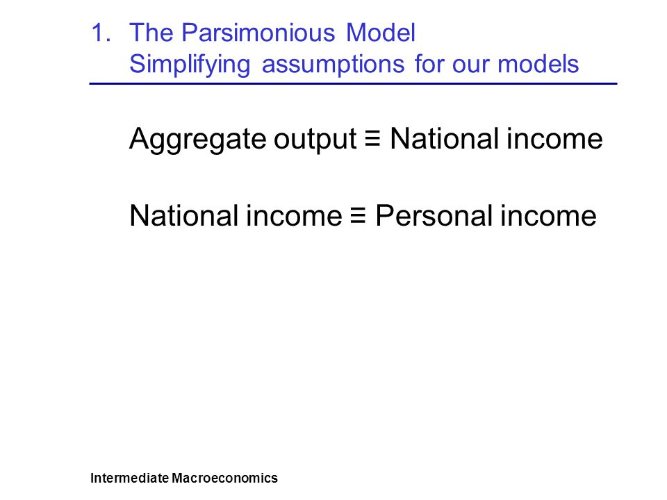 The Parsimonious Model Simplifying assumptions for our models