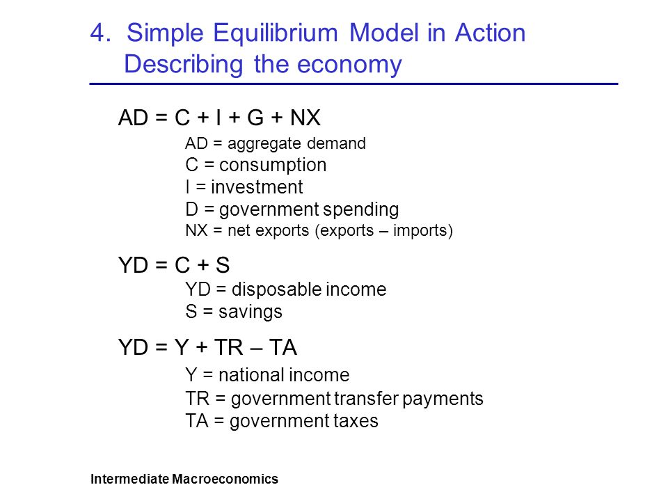 4. Simple Equilibrium Model in Action Describing the economy