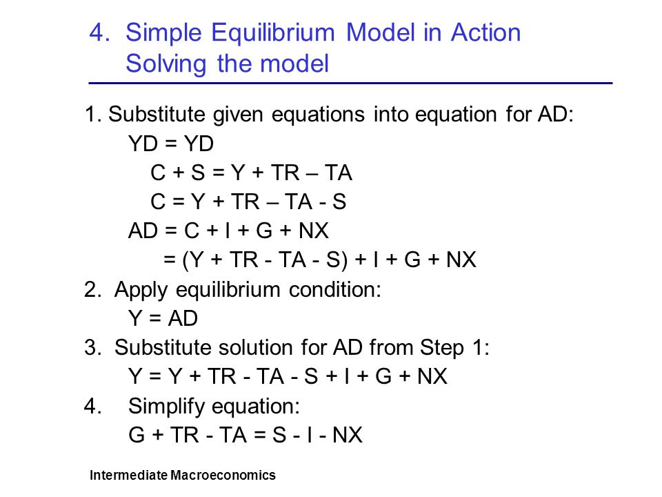 4. Simple Equilibrium Model in Action Solving the model