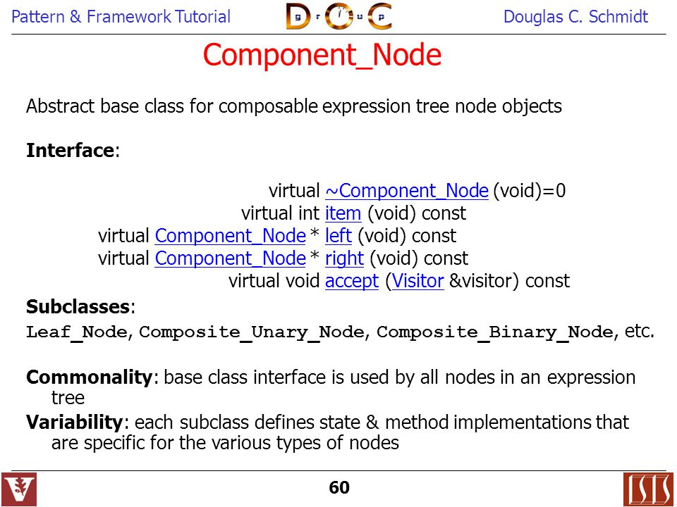 Component_Node Abstract base class for composable expression tree node objects. Interface: virtual