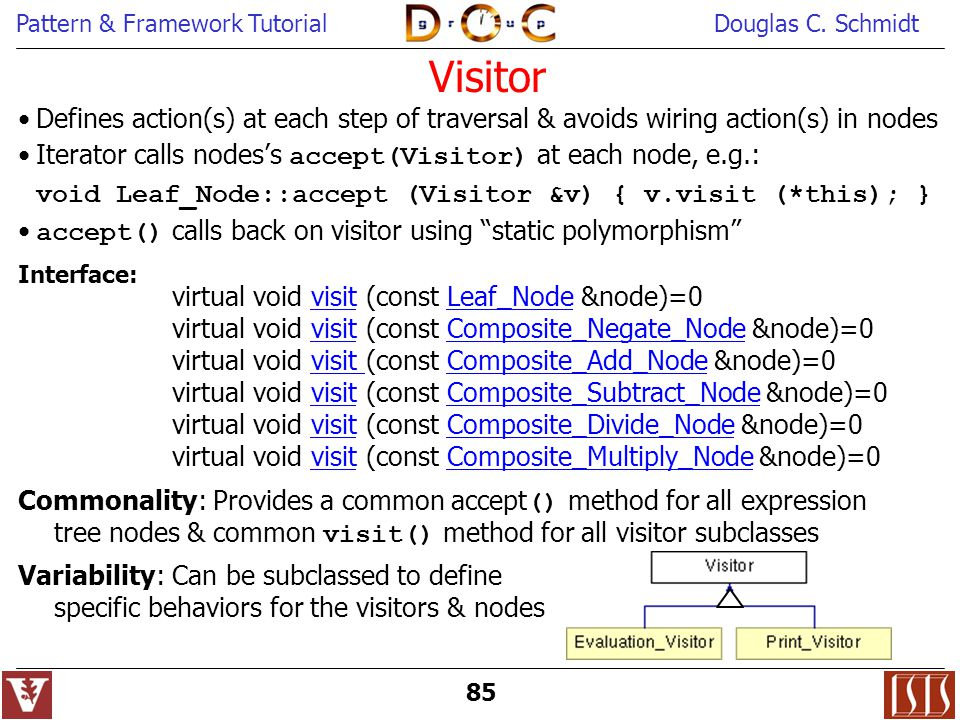 Visitor Defines action(s) at each step of traversal & avoids wiring action(s) in nodes. Iterator calls nodes's accept(Visitor) at each node, e.g.: