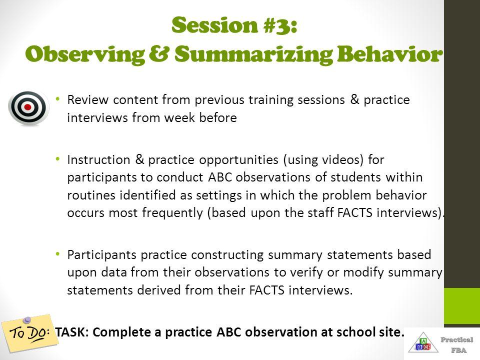 Session #3: Observing & Summarizing Behavior