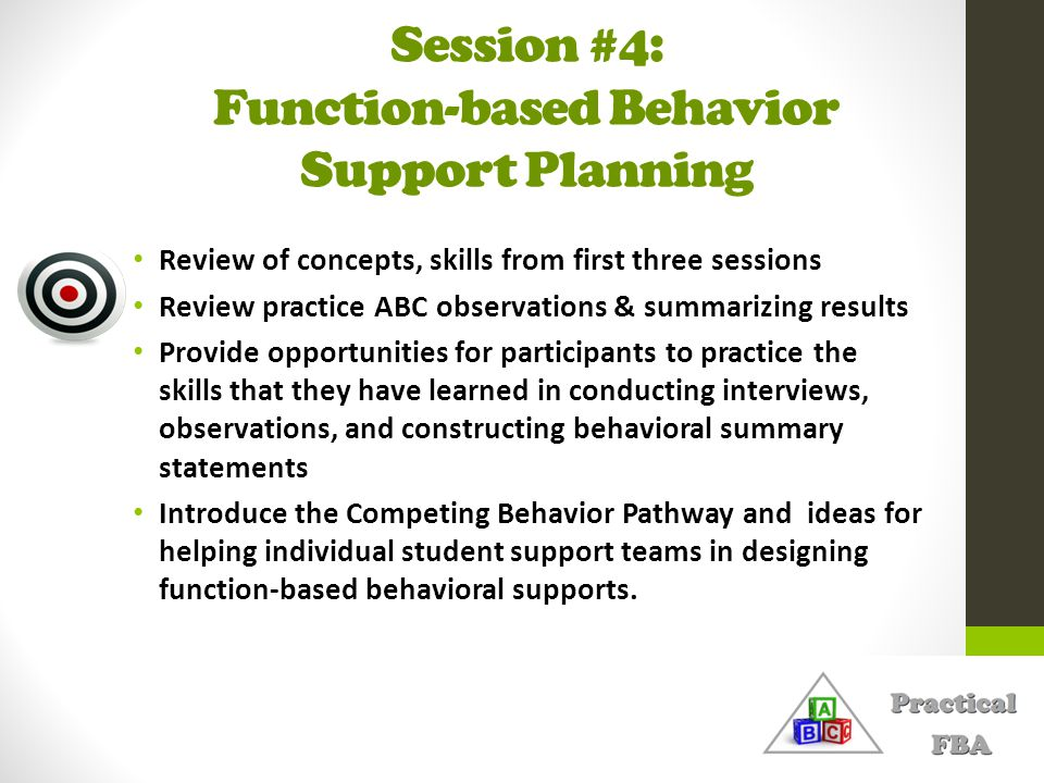 Session #4: Function-based Behavior Support Planning