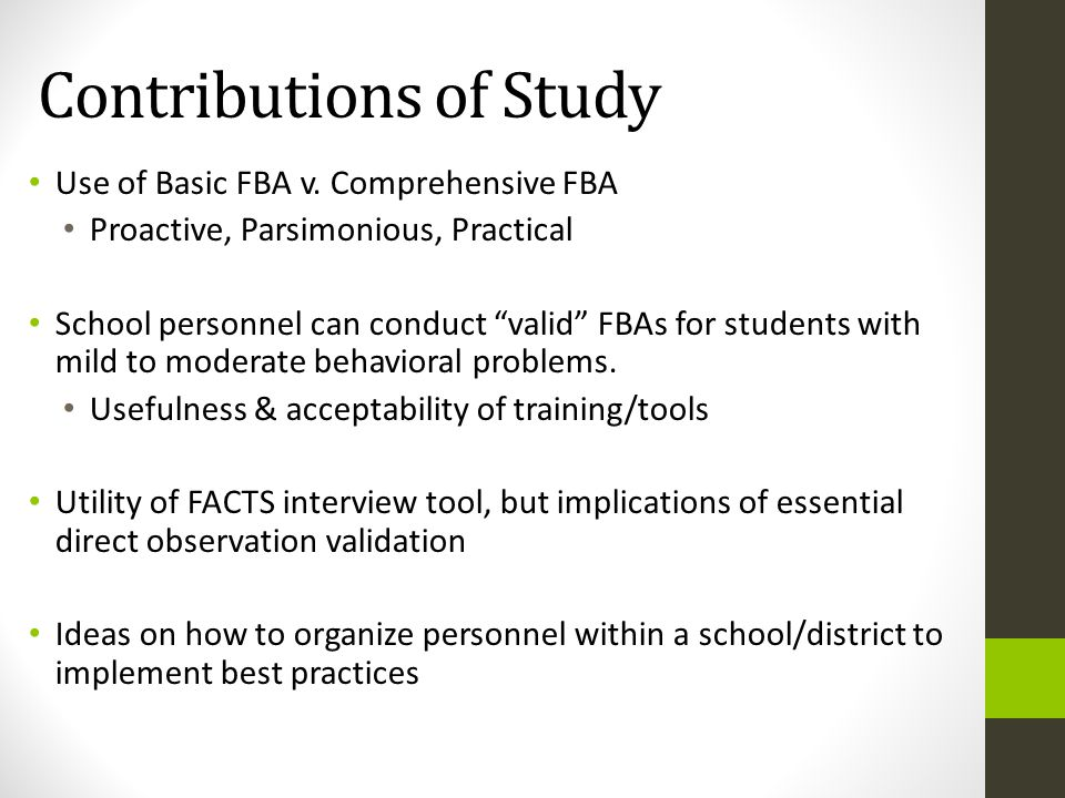 Contributions of Study