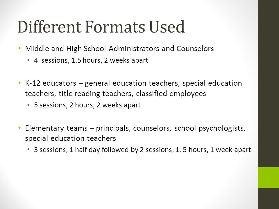 Different Formats Used