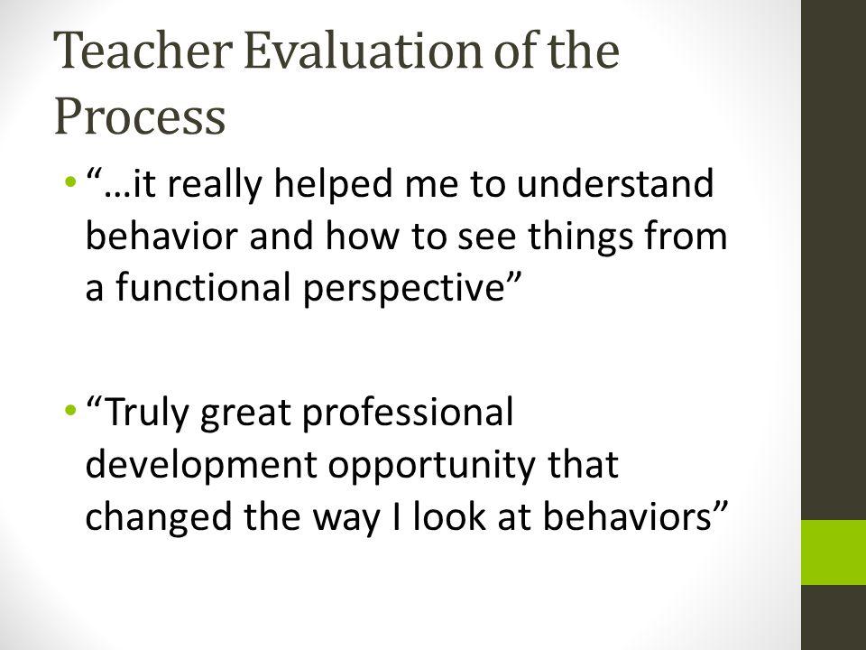 Teacher Evaluation of the Process