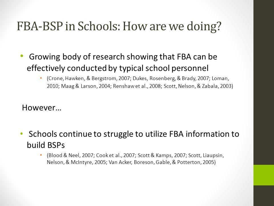 FBA-BSP in Schools: How are we doing