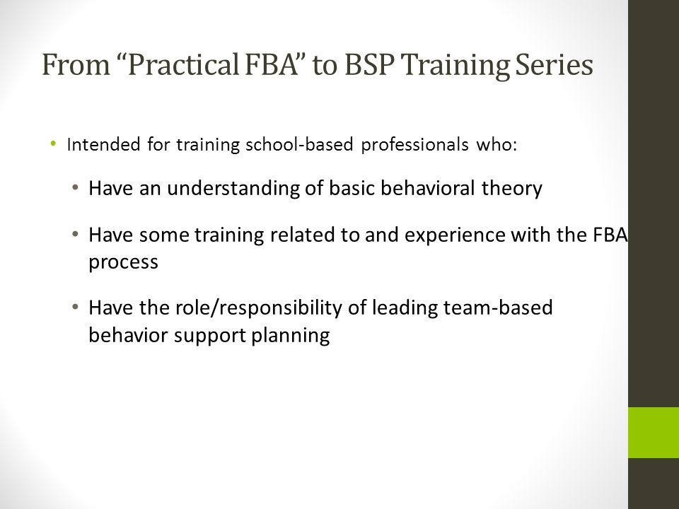 From Practical FBA to BSP Training Series