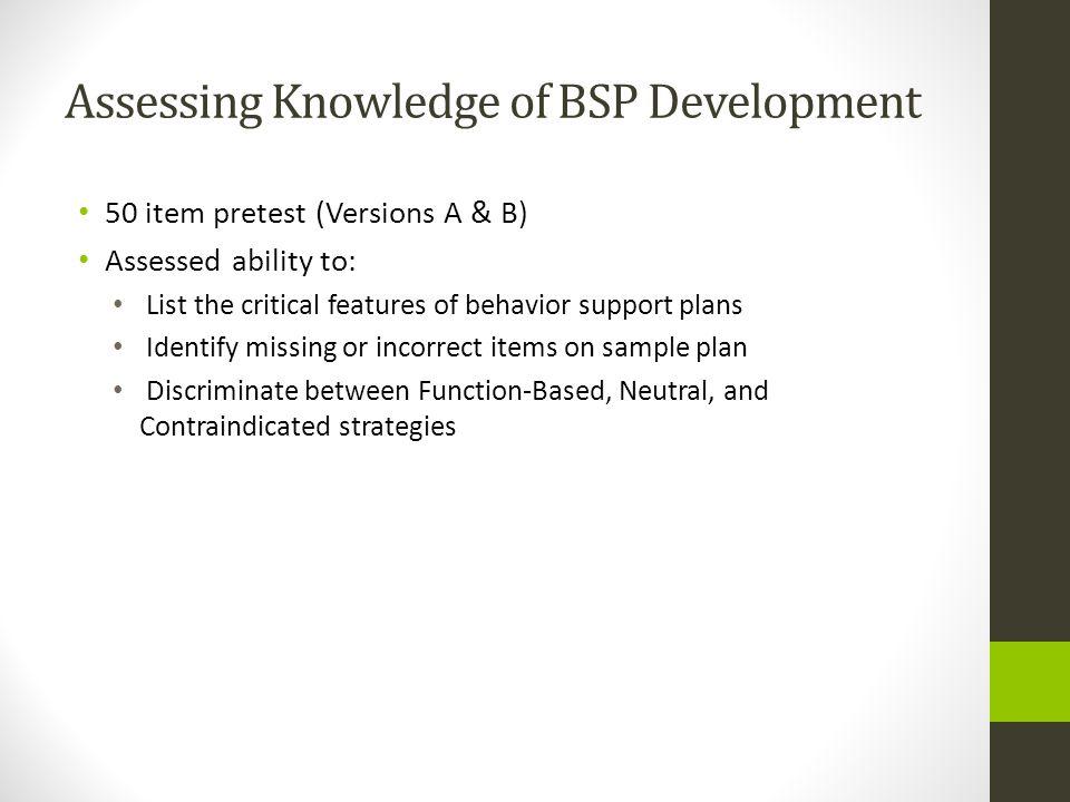 Assessing Knowledge of BSP Development