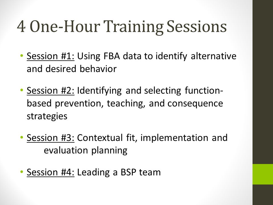 4 One-Hour Training Sessions