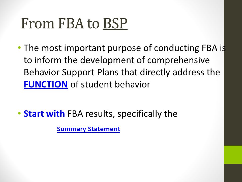 From FBA to BSP
