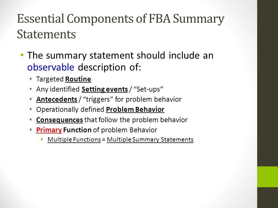 Essential Components of FBA Summary Statements
