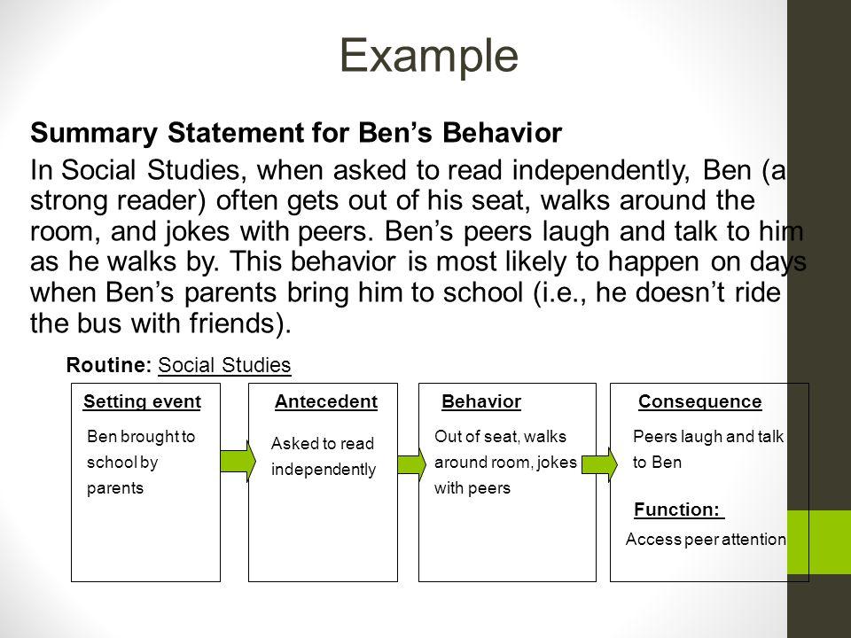 Example Summary Statement for Ben's Behavior