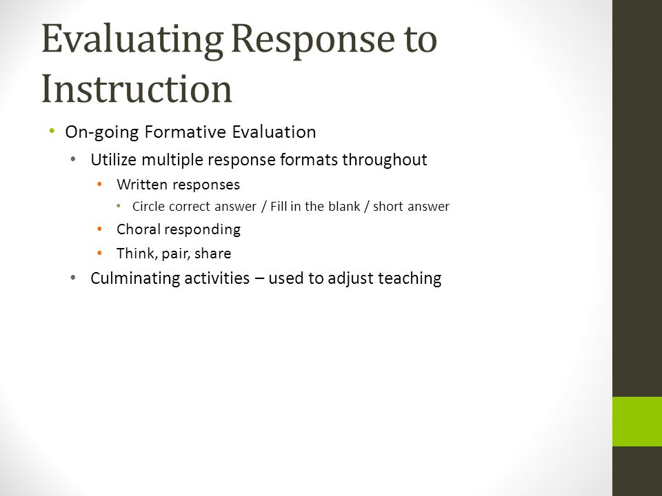 Evaluating Response to Instruction