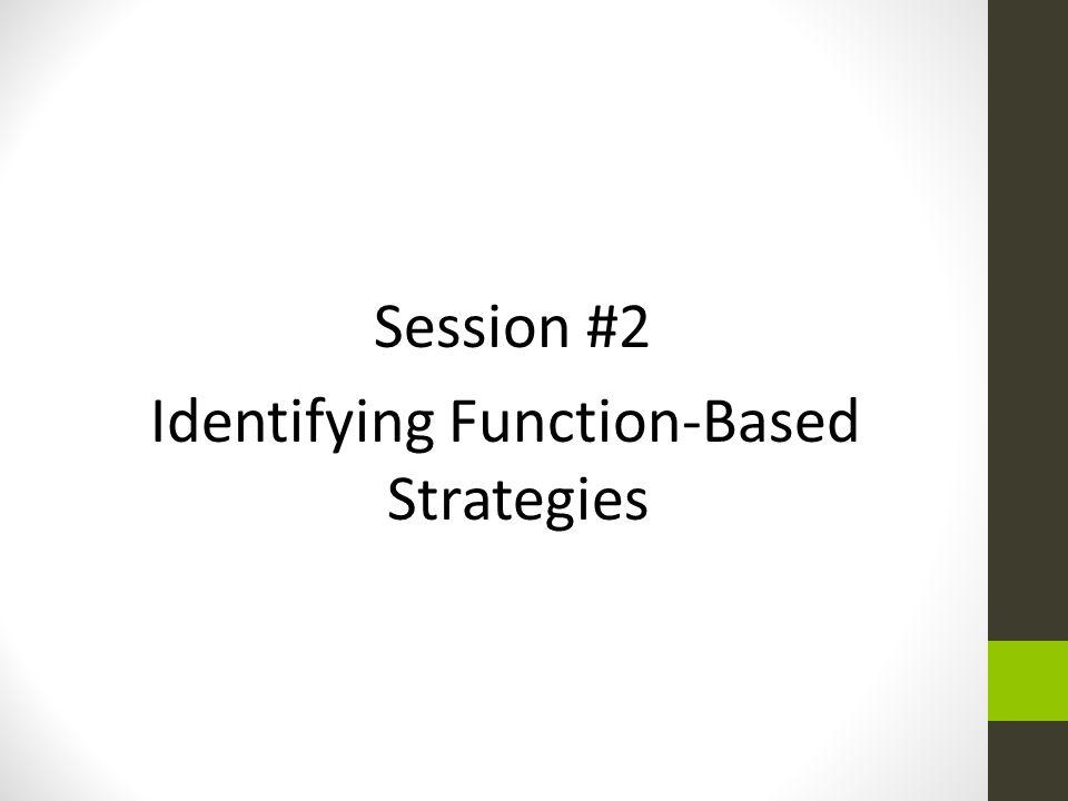 Identifying Function-Based Strategies