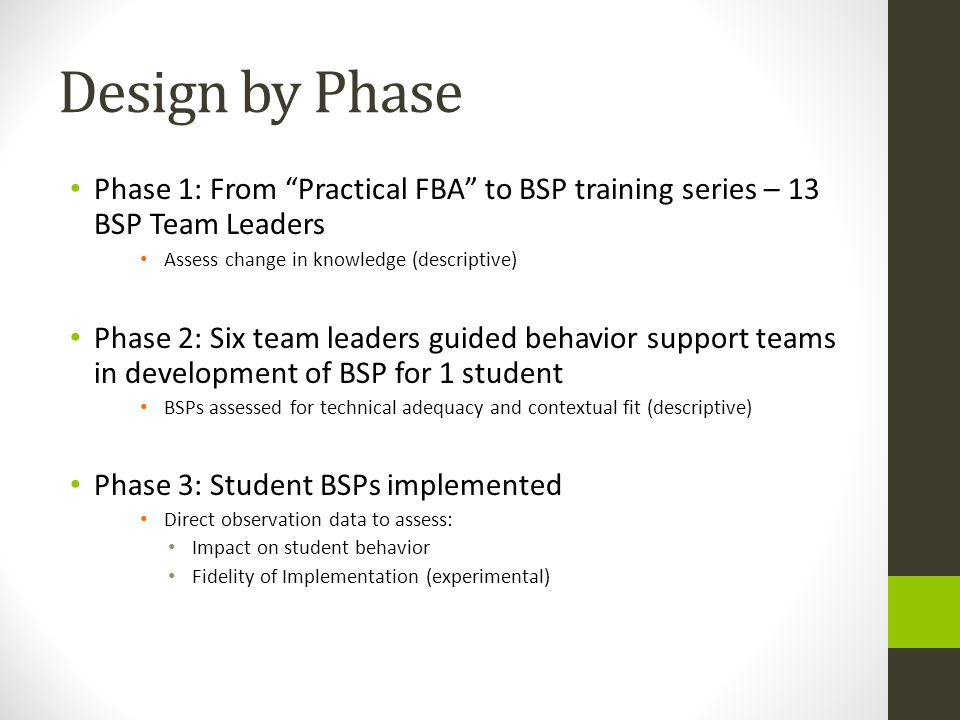 Design by Phase Phase 1: From Practical FBA to BSP training series – 13 BSP Team Leaders. Assess change in knowledge (descriptive)