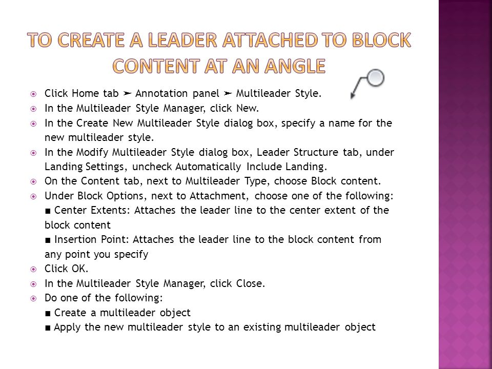 To create a leader attached to block content at an angle