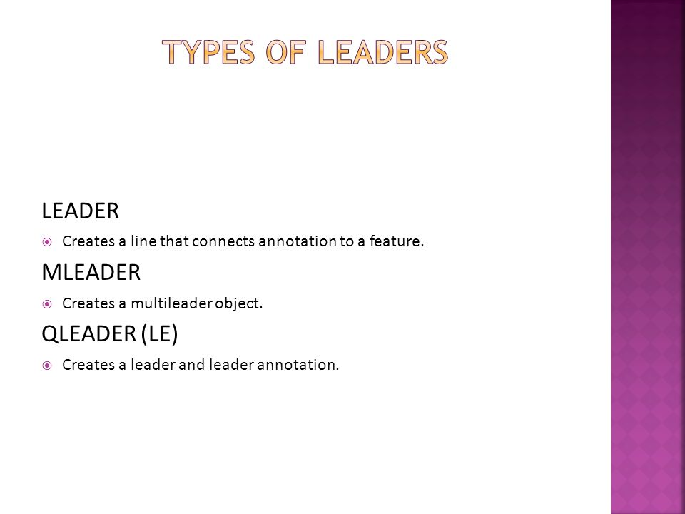 Types of Leaders LEADER MLEADER QLEADER (LE)