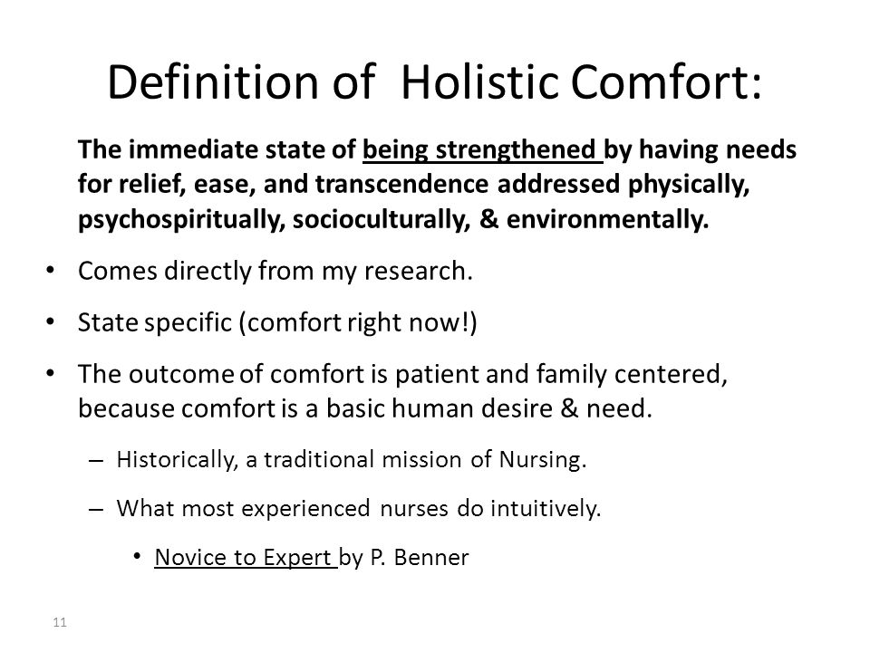 Definition of Holistic Comfort: