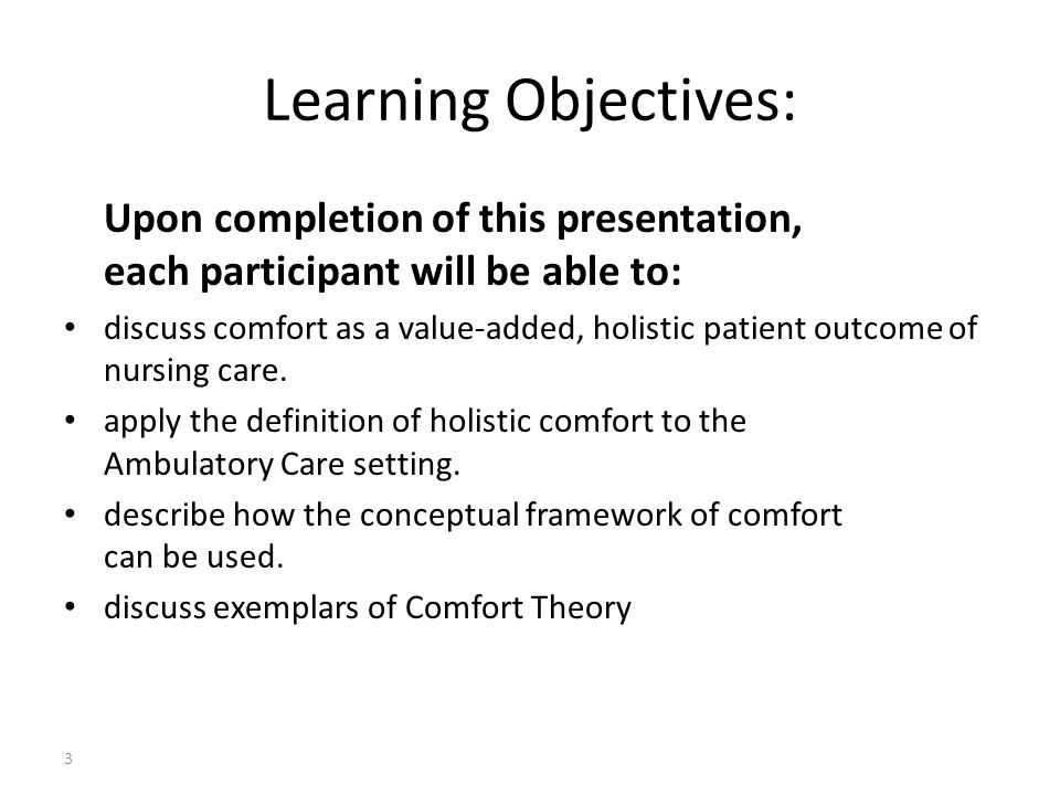 Learning Objectives: Upon completion of this presentation, each participant will be able to: