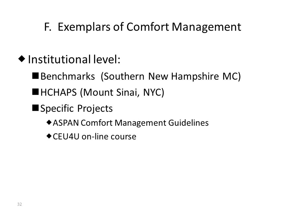F. Exemplars of Comfort Management