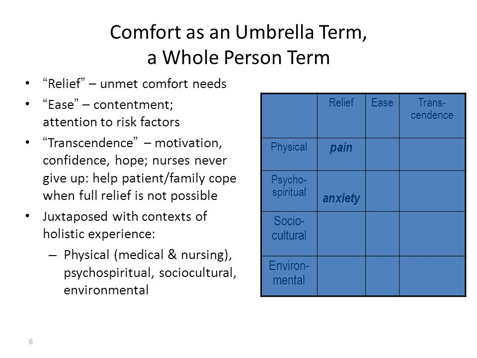 Comfort as an Umbrella Term, a Whole Person Term