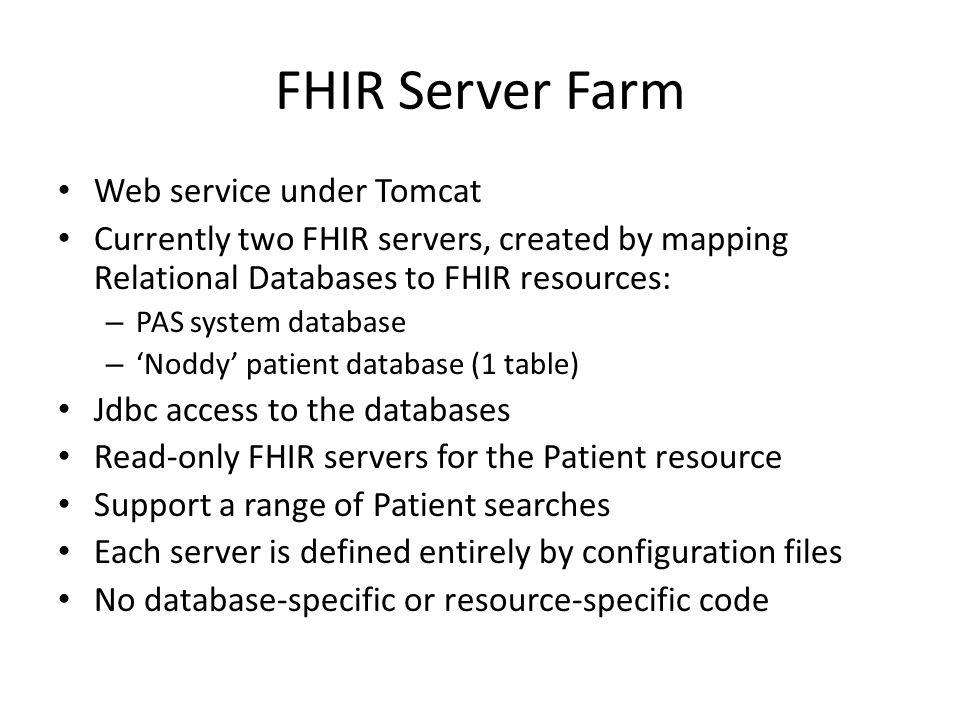 FHIR Server Farm Web service under Tomcat