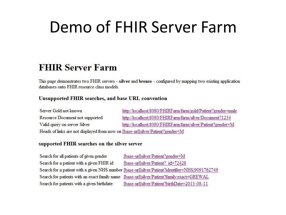 Demo of FHIR Server Farm