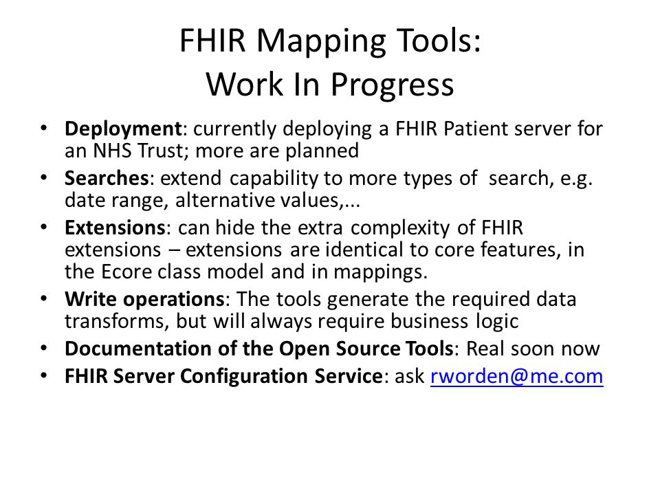 FHIR Mapping Tools: Work In Progress