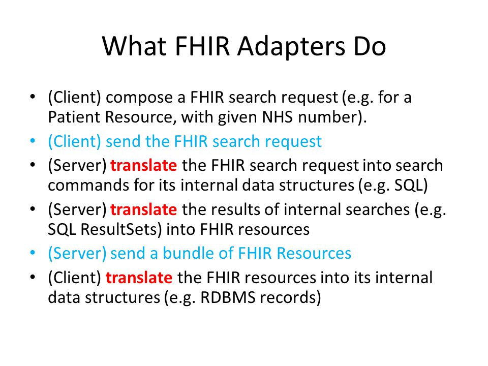 What FHIR Adapters Do (Client) compose a FHIR search request (e.g. for a Patient Resource, with given NHS number).