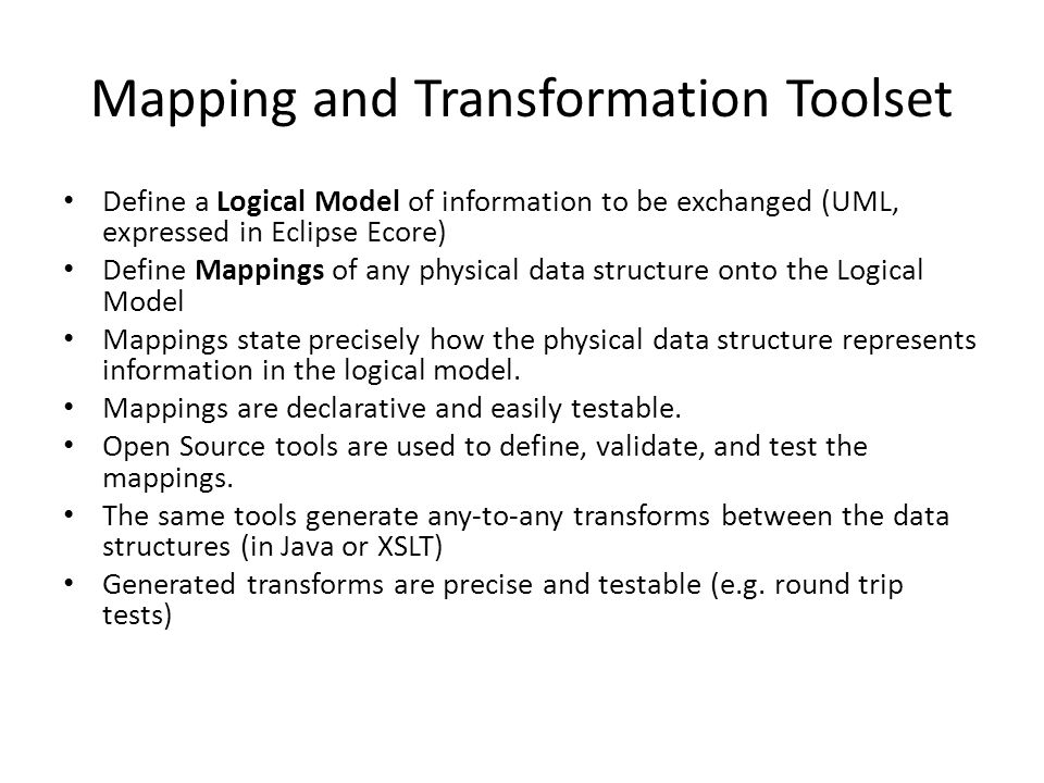 Mapping and Transformation Toolset