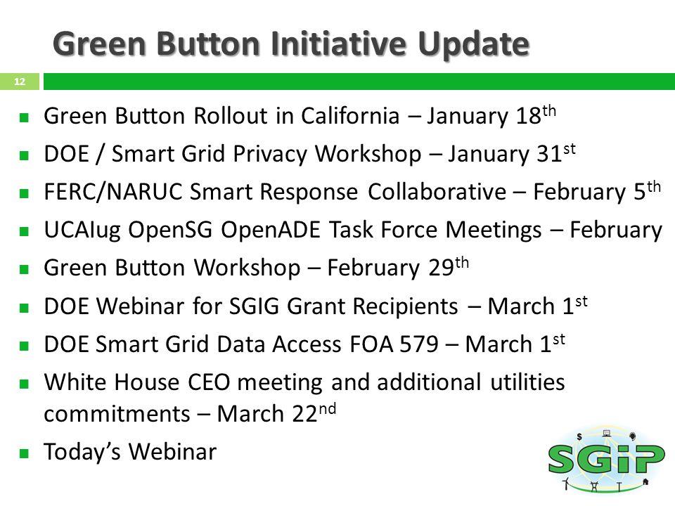 Green Button Initiative Update