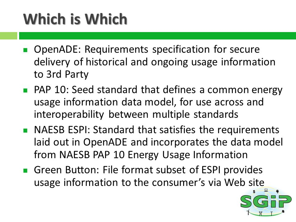 Which is Which OpenADE: Requirements specification for secure delivery of historical and ongoing usage information to 3rd Party.