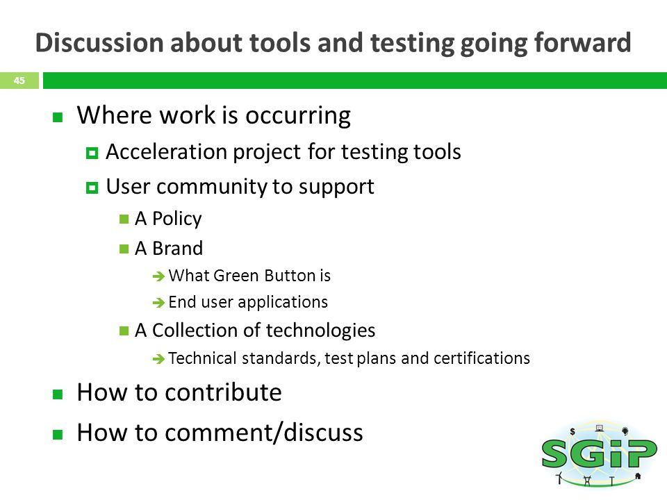 Discussion about tools and testing going forward
