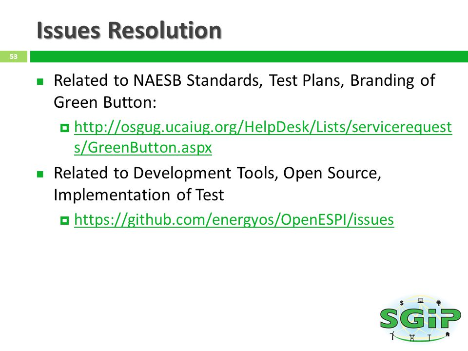 Issues Resolution Related to NAESB Standards, Test Plans, Branding of Green Button: