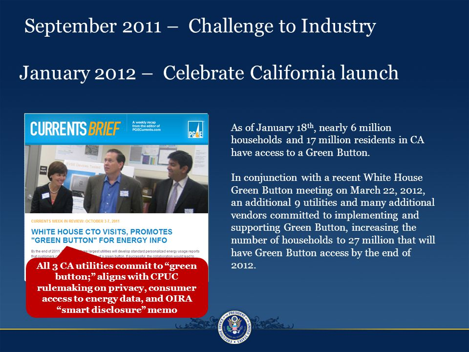 September 2011 – Challenge to Industry January 2012 – Celebrate California launch