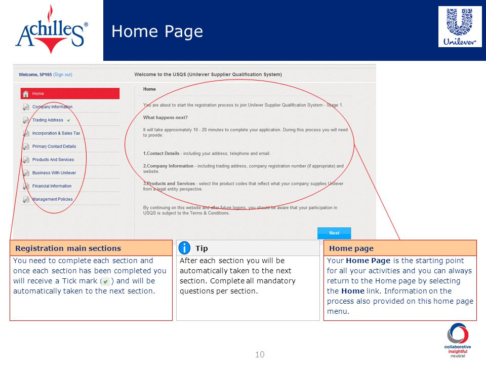Home Page Registration main sections Tip Home page