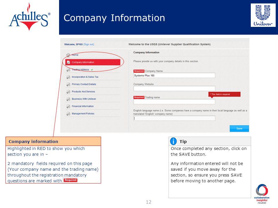 Company Information Company information Tip