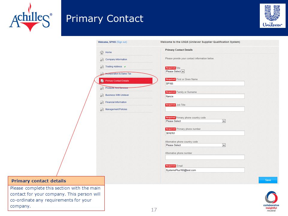 Primary Contact 17 Primary contact details